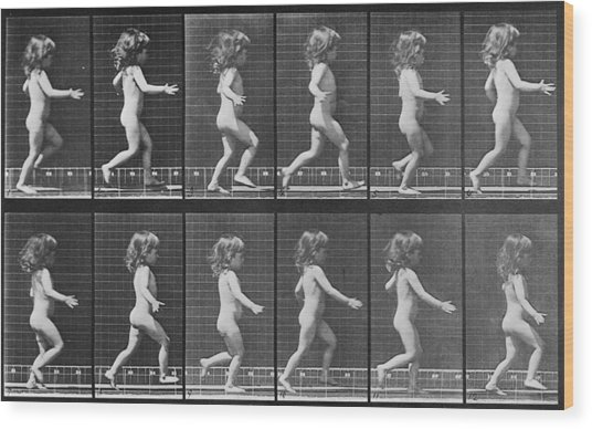 Consecutive Images Of A Little Nude Wood Print by Everett