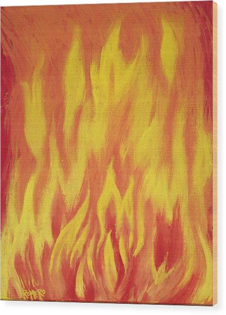 Wood Print featuring the painting Consuming Fire by Antonio Romero
