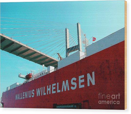 Container Ship Savannah Georgia Under Bridge Wood Print