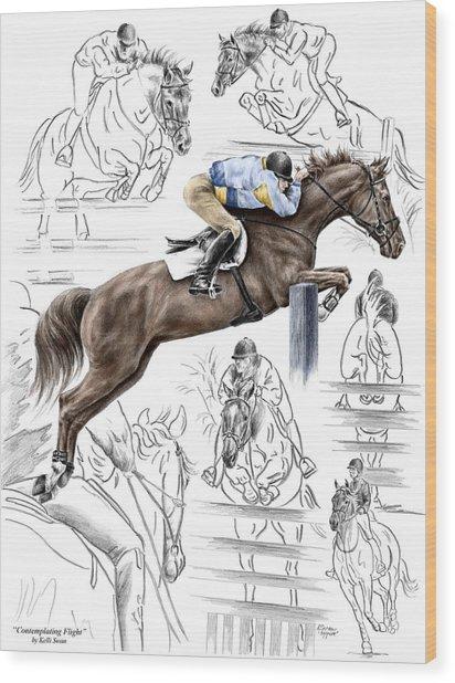 Contemplating Flight - Horse Jumper Print Color Tinted Wood Print