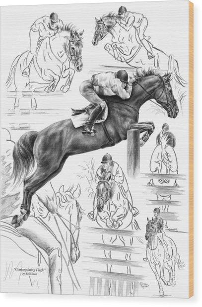 Contemplating Flight - Jumper Horse Drawing Wood Print