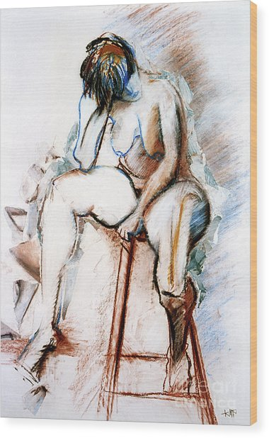 Contemplation - Nude On A Stool Wood Print