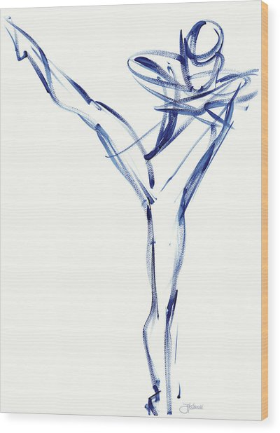 Contemporary Ballet Dancer, Blue Wood Print