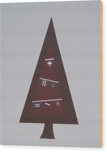 Contemporary Christmas Tree Wood Print by Sandy Bostelman