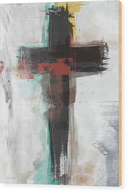 Contemporary Cross 1- Art By Linda Woods Wood Print