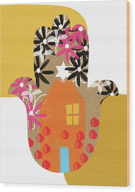 Contemporary Hamsa With House- Art By Linda Woods Wood Print
