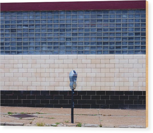 Contemporary Minimal Photography Print. Parking Meter. Wood Print by Dylan Murphy