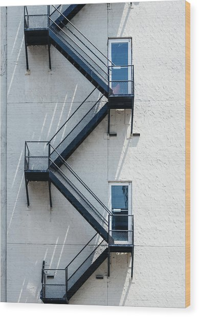 Contemporary Minimalist Photography Of Stairwell Wood Print by Dylan Murphy