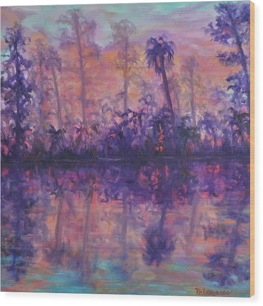 Contemporary Nature Painting Tropical Lake Sunset Wood Print