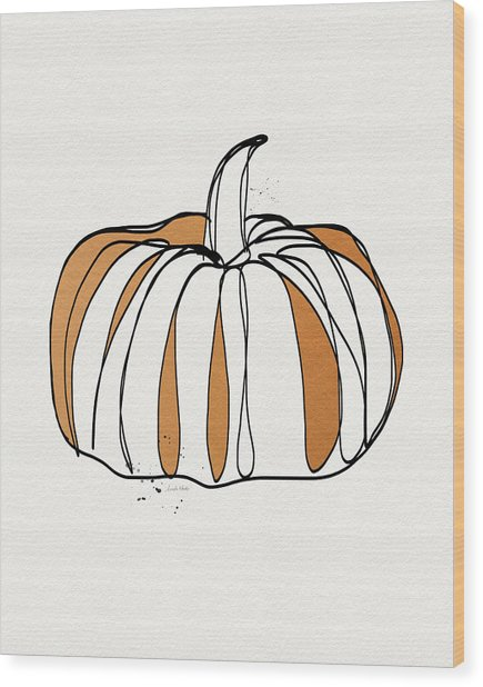 Contemporary Pumpkin- Art By Linda Woods Wood Print