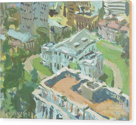 Contemporary Richmond Virginia Cityscape Painting Featuring Virginia State Capitol Building Wood Print