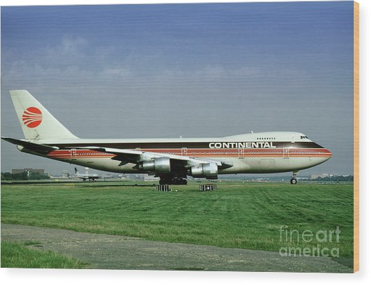 Continental Airlines Boeing 747-243b, N605pe, October 1988 Wood Print