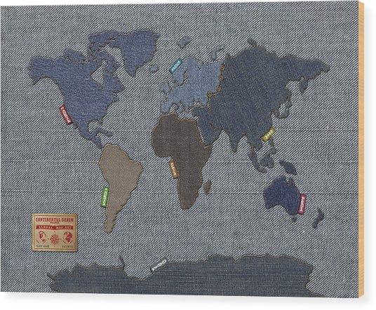 Continental Denim World Map Wood Print