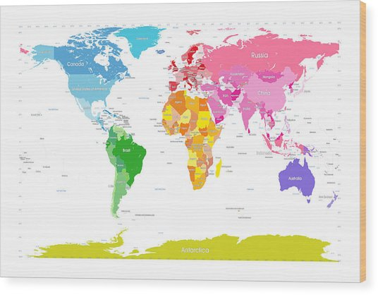 Continents World Map Large Text For Kids Wood Print