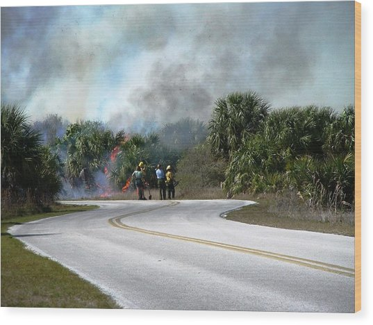 Controlled Burn Wood Print by Peter  McIntosh
