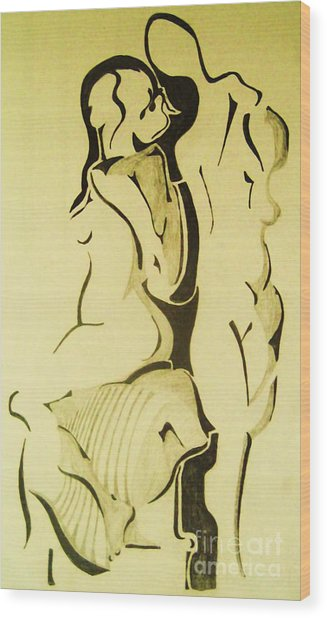 Conversation Of Two Nudes  Wood Print by Reb Frost