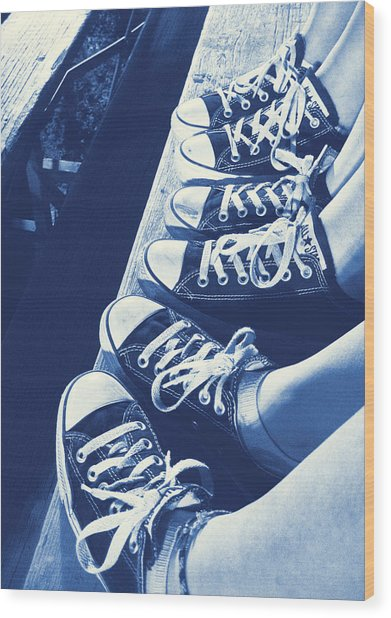 Converse Blues Wood Print by JAMART Photography
