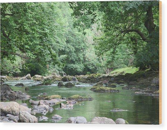 Conwy River Near Betws Y Coed.  Wood Print