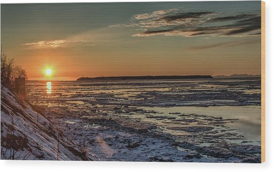 Wood Print featuring the photograph Cook Inlet Sunset Alaska  by Michael Rogers
