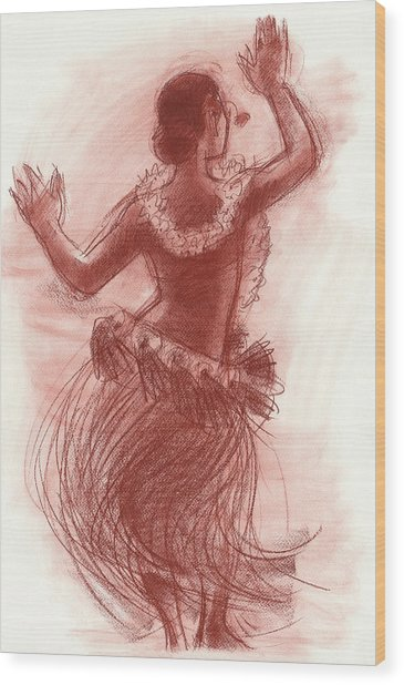 Cook Islands Drum Dancer From The Back Wood Print