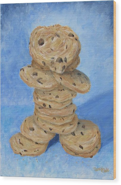 Wood Print featuring the painting Cookie Monster by Nancy Nale