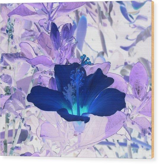 Cool Blue Hawaiian Hibiscus Wood Print