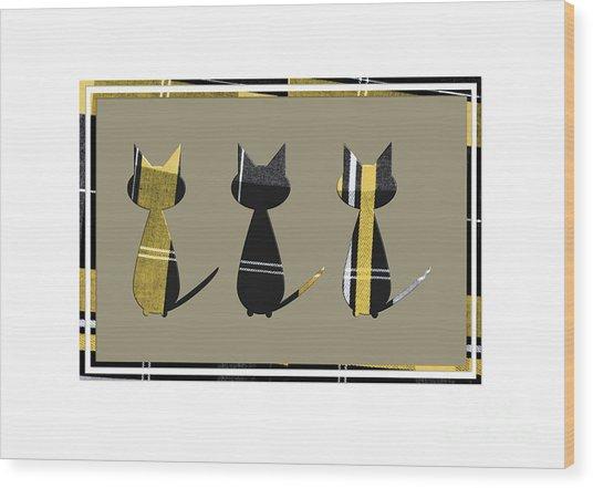 Cool Cats In Tartan Wood Print