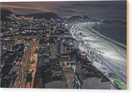 Copacabana Lights Wood Print