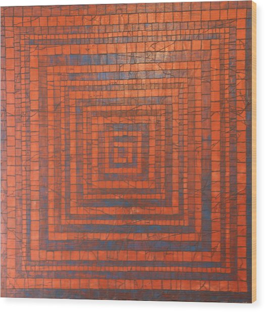 Copper And Cerulean Crack Wood Print by Tracy Fetter