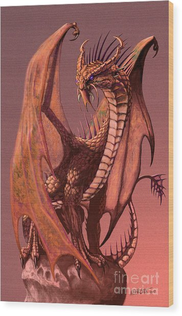 Copper Dragon Wood Print