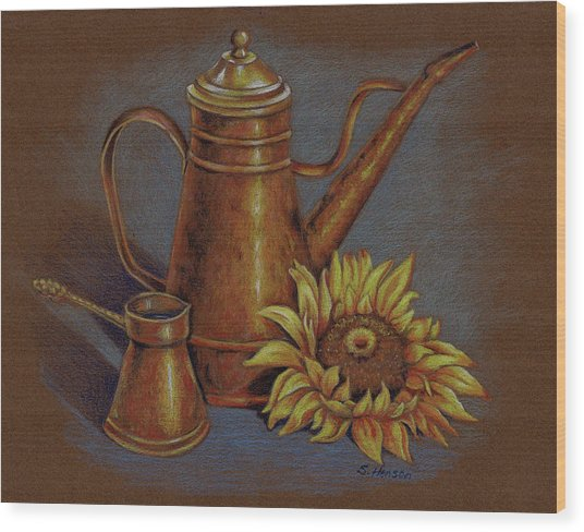 Copper Kettle Wood Print