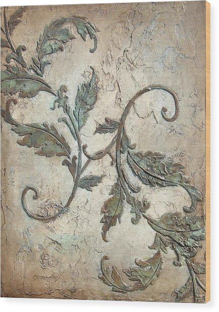 Copper Leaves Wood Print