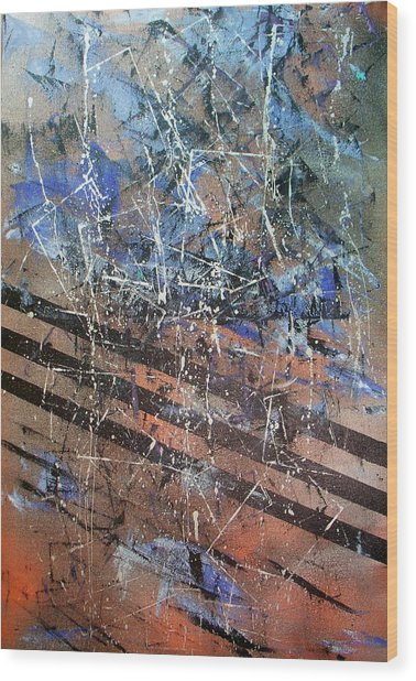 Copper To Blue Abstract Wood Print by Lynda McDonald