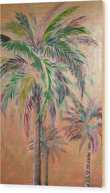 Copper Trio Of Palms Wood Print