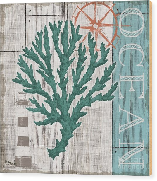 Coral Azul Iv Wood Print by Paul Brent