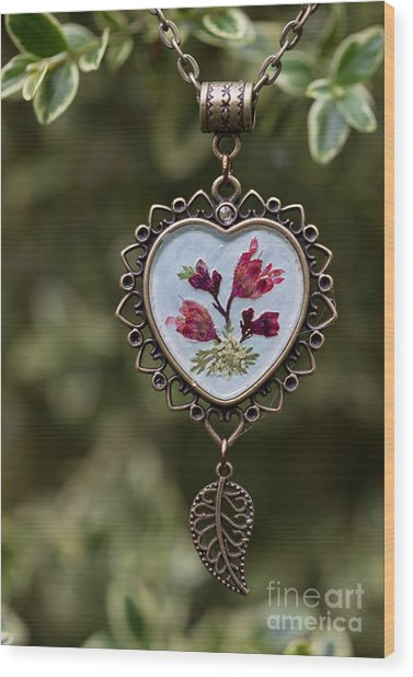Coral Bell Pressed Flower Pendant Wood Print