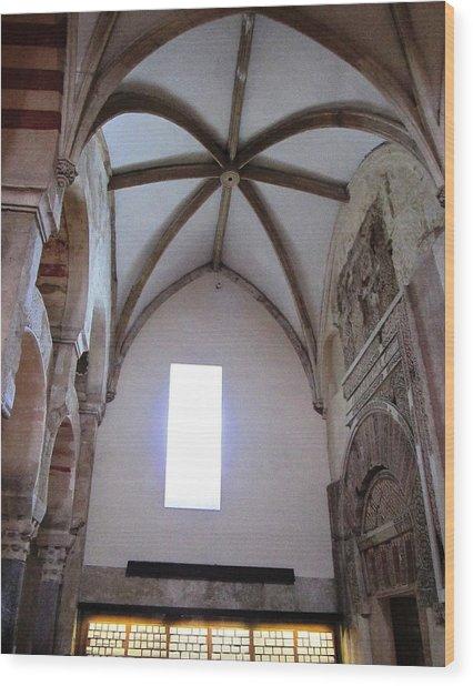 Cordoba Ancient High Ceiling Church Spain Wood Print by John Shiron