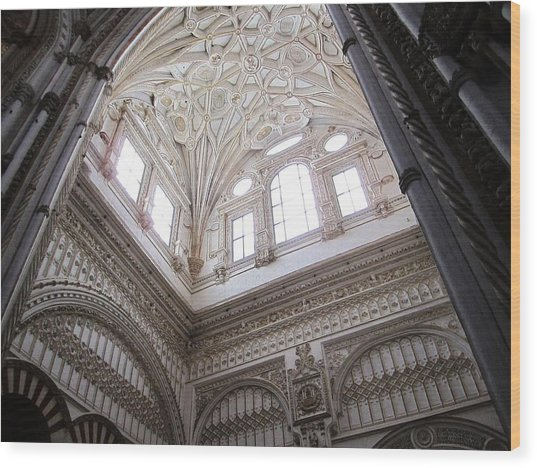 Cordoba Cathedral Ancient Ornate Ceiling Iv Spain Wood Print