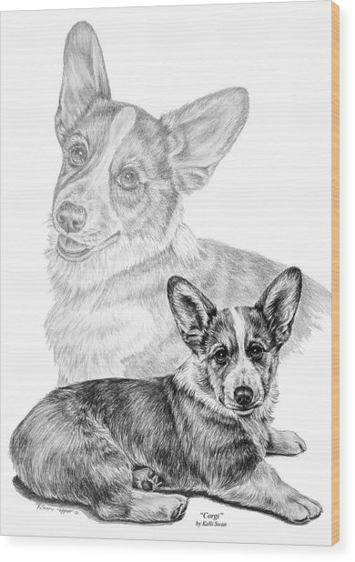 Corgi Dog Art Print Wood Print