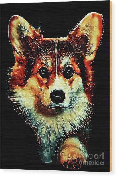 Corgi Portrait Wood Print