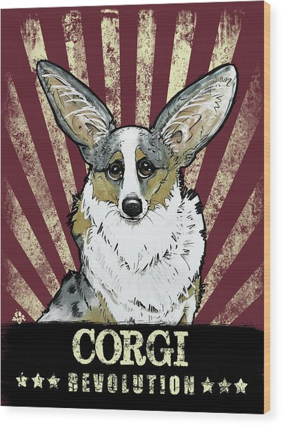 Corgi Revolution Wood Print