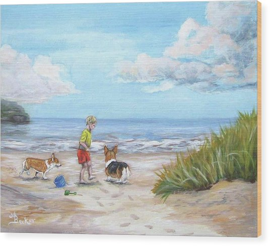 Corgi Seaside Play Wood Print by Ann Becker