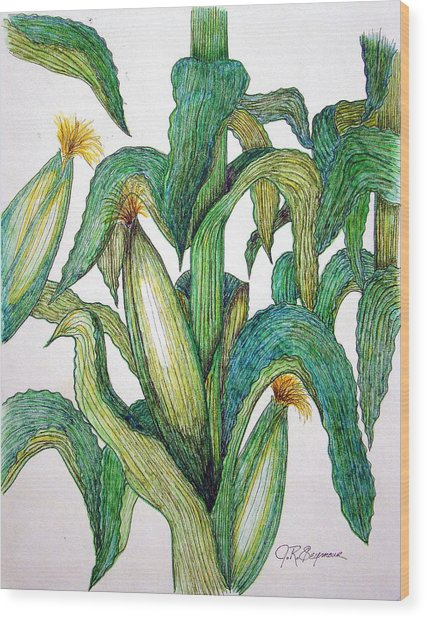 Corn And Stalk Wood Print