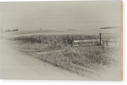 Corn Gate Rusty Wood Print by Wilma  Birdwell