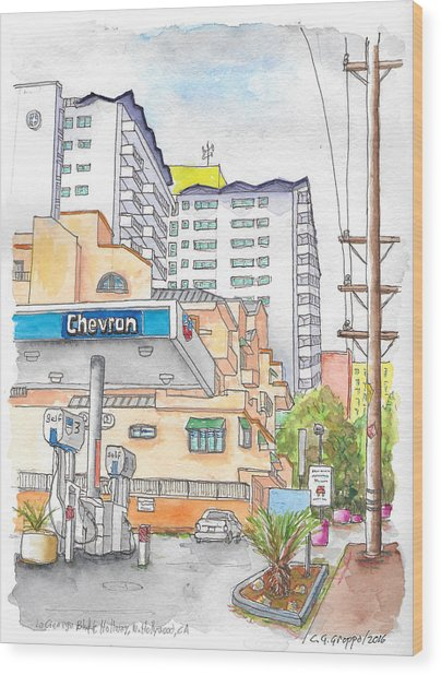 Corner La Cienega Blvd. And Hallway, Chevron Gas Station, West Hollywood, Ca Wood Print