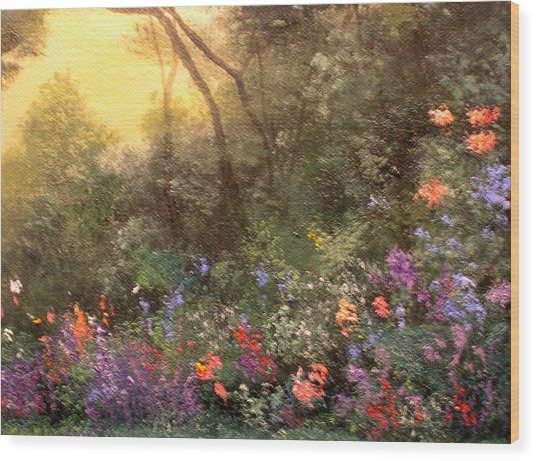 Corner Of The Garden Wood Print by Connie Tom