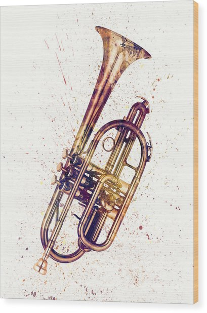 Cornet Abstract Watercolor Wood Print