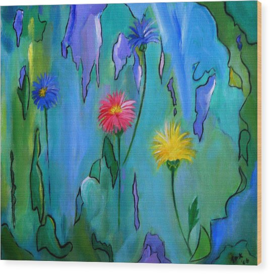 Cornflowers Wood Print