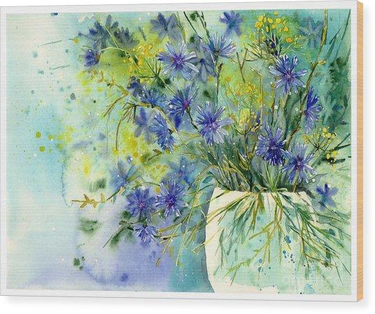 Cornflowers Symphony Wood Print