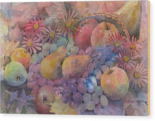 Cornucopia Of Fruit Wood Print